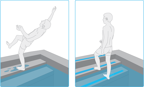 ипользование нескользящих ступеней при строительстве бассейна